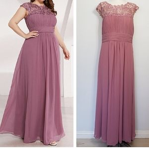 EVER PRETTY maxi lace cap sleeves evening dress 14